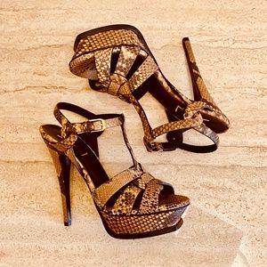 Saint Laurent Tribute Python Platform Sandals